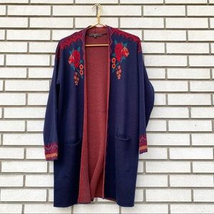 Max Sport LA Navy Knit Rose Tribal Boho Cardigan